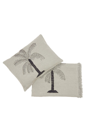 Palm hand-embroidered linen cushion and throw