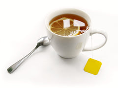 Cup of Tea with Lemon and Spoon