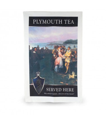 Plymouth Tea Tea Towel with Drake on Plymouth Sound