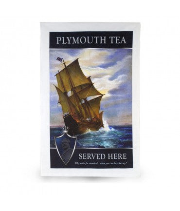 Plymouth Tea Tea Towel with Ship