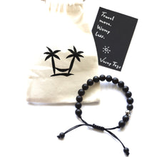 Load image into Gallery viewer, Black bead bracelet (adjustable in size)