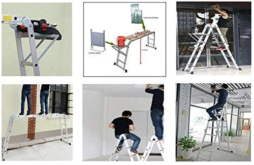 Multi-Purpose Aluminium Folding Ladder, Manufactured to EN131 Specifications | DIY Extendable Telescopic Ladder (4.7M Ladder ONLY) Ladders