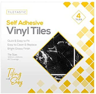 Pack of 12 Black Marble Effect/Design Self Adhesive Vinyl Glossy Tiles | 30.5x30.5cm