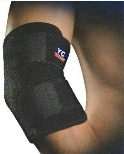 Black Neoprene Elbow Brace, Adjustable Elbow Support Band, Elbow Strap for Golfers Elbow, Tennis Elbow, Arthritis, Tendinitis, Sports Injury Pain Relief and Protection for Men and Women