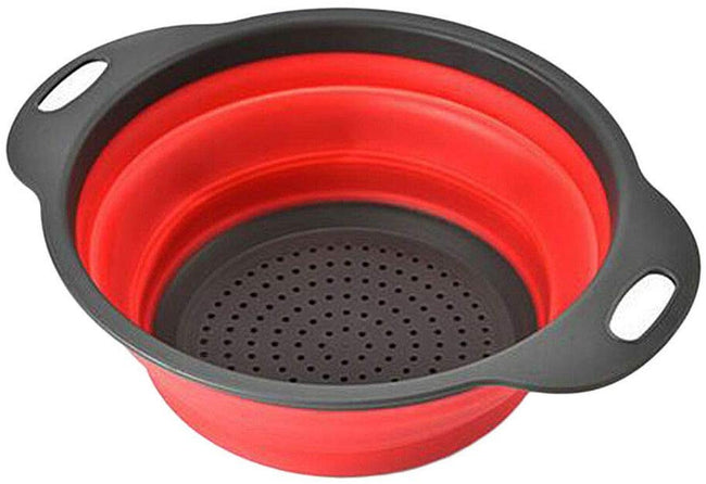 Round Silicone Collapsible Colander/Kitchen Strainer - Perfect for Draining Pasta, Vegetable and Fruit  (29 x 24 x 10 cm) Kitchen