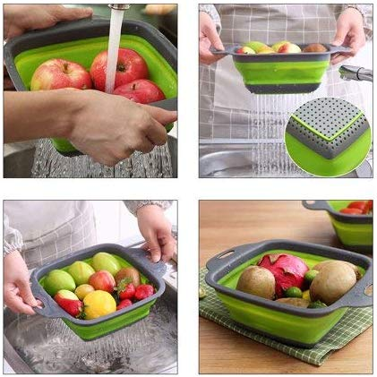 Keraiz Square Collapsible Red/Green Baskets | 29x 21.5x 11cm | Folding Baskets Laundry Baskets & Hampers