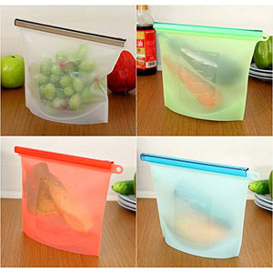 Reusable Silicone Food Preservation Bags/Airtight Seal Safe Storage Containers/Multipurpose Grip-Seal and Cost-Effective/Heat and Cold Resistant / Pack of 4 Kitchen