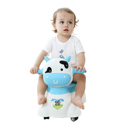 Animal Shape Plastic Musical Baby Potty Chair with Wheels, Training Seat for Toddlers (White and Blue)