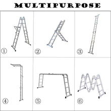 Load image into Gallery viewer, Multi-Purpose Aluminium Folding Ladder, Manufactured to EN131 Specifications | DIY Extendable Telescopic Ladder (4.7M Ladder ONLY) Ladders