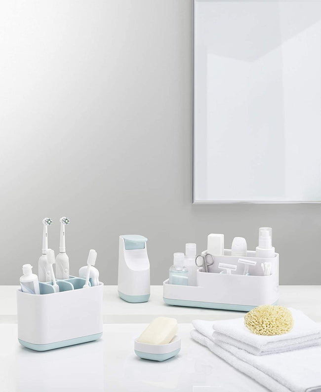Bathroom Easy-Store Bathroom Caddy- White/Blue