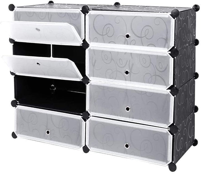 8 Shelf Shoe rack black & white