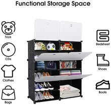 Load image into Gallery viewer, 8 Shelf Shoe rack black & white