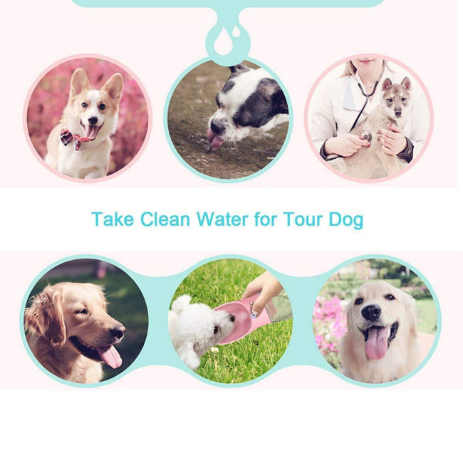 Keraiz Portable Pet Water Bottle Lock System Leak Proof Silicone Band Handy-Pink Dishes, Feeders & Fountains