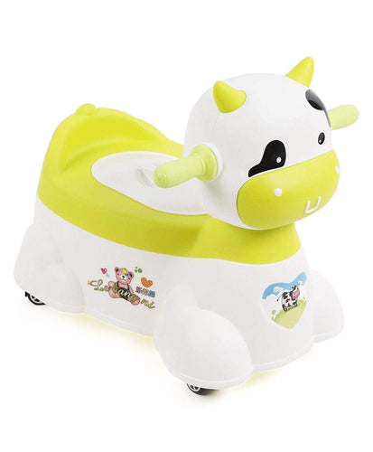 Animal Shape Plastic Musical Baby Potty Chair with Wheels, Training Seat for Toddlers (White and Green)