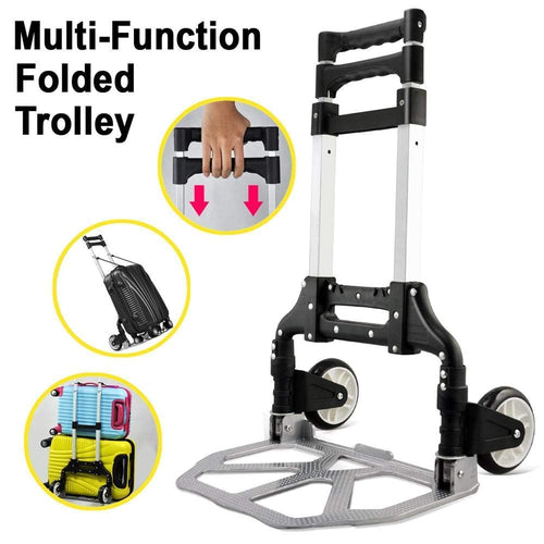 KERAIZ Hand Sack Truck Barrow Cart Trolley Heavy Duty Aluminium 80kg Folding Foldable For Convenient Lifting & Moving At Home, Office & Outdoors