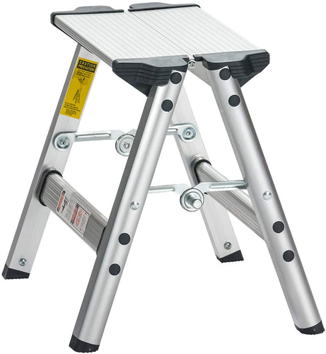 45cm Aluminum Step Stool | 2 Steps Ladder with Anti-Slip Sturdy and Wide Pedal