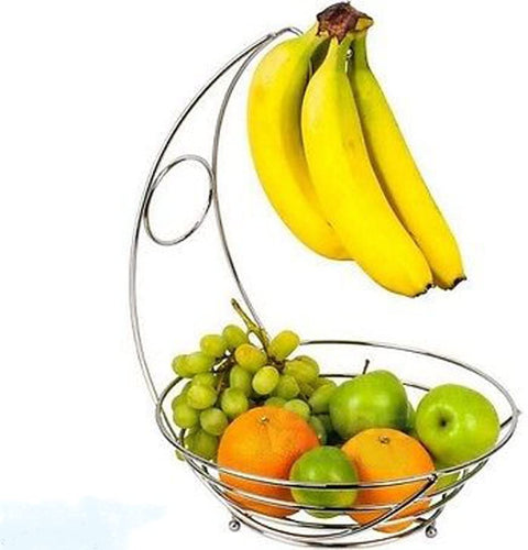 2 in 1 Chrome Fruit Bowl Basket & Banana Hook Hanger Stand