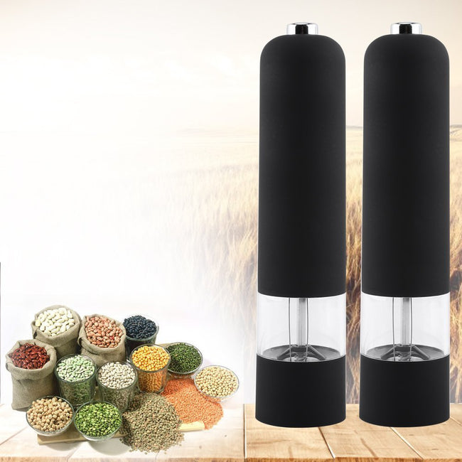 Electric Pepper Spice Salt Mill Grinder Muller * Black (Set of 2) Kitchen