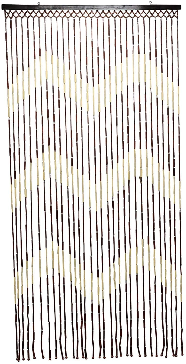 Hanging Wooden Bamboo Beaded Door Curtain Screen / 90 x 180