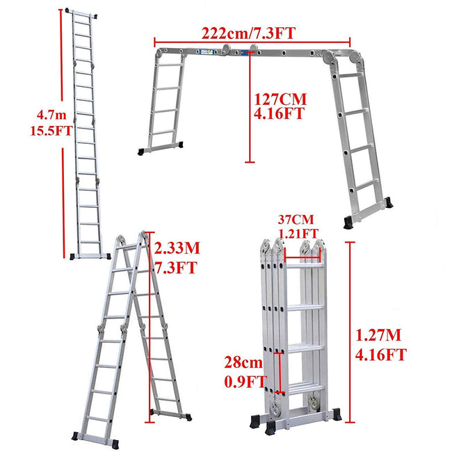 Stella 14-in-1 (15.5ft) 4.7m Folding Multi Ladder with 2 Scaffold Working Plates and 1 Tool Tray Household Ladders