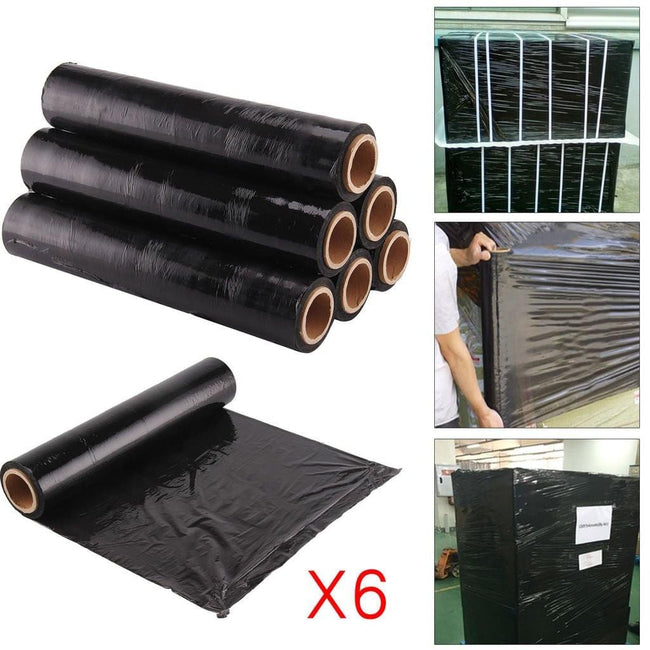 6 Rolls of Pallet or Shrink Wrap for DIY Household | Office | Online Sellers Black Office Product