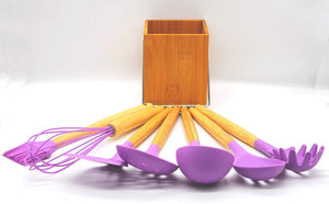 RUBYZ 8 Piece Silicone Cooking Utensils Set with Bamboo Wood Handles/for Nonstick Cookware/Wooden Utensil Holder Included (Purple) Kitchen