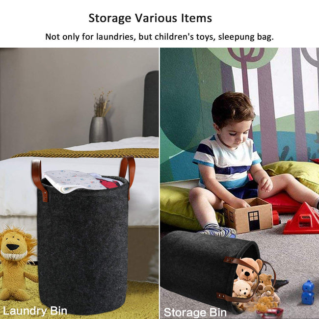 Collapsible/Foldable Felt Checks Design Space-Saving Laundry Hamper/ Basket Laundry Baskets & Hampers