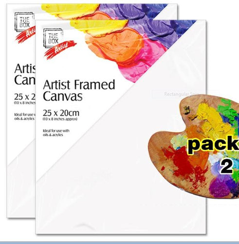 25 x 20 Stretched Wooden Frame Blank Plain White Canvas for Oil & Acrylic Painting Pack of 2