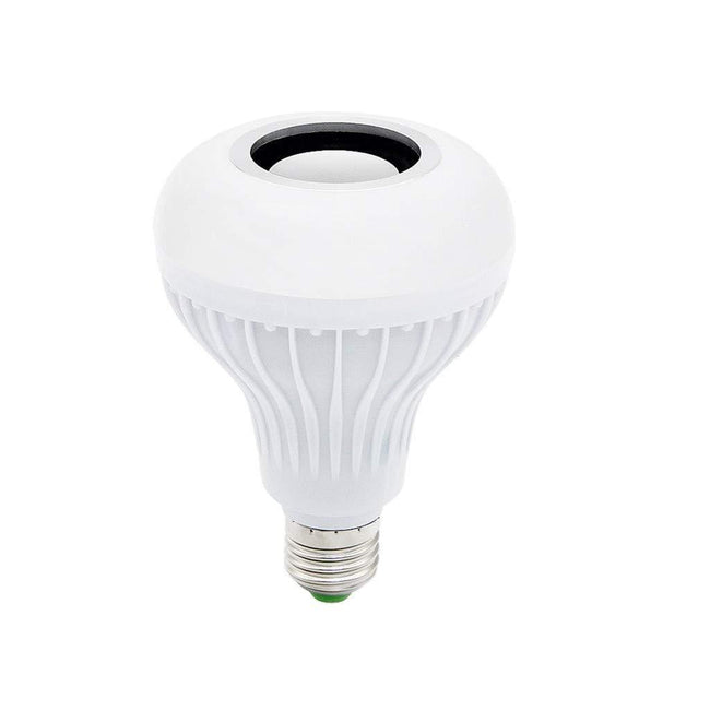 LED Wireless Bluetooth Speaker Music Bulb Light, White with 24 Key Remote Lighting
