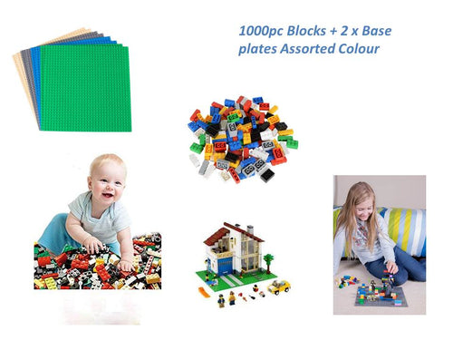 1000 PC Building Blocks + 2 Assorted Color Base Plates | Educational toys