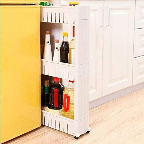 3 Tier Storage Trolleys, Slim Slide Out, Detachable Shelf with Wheels Kitchen