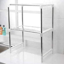 Load image into Gallery viewer, 7009 Stainless Steel Microwave Oven Storage Rack for Kitchen Storage
