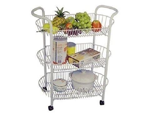 3 / 4 Tier Chrome Vegetable Kitchen Trolley Oval Storage Rack CART Stand Storage Shelf