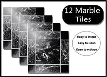 Load image into Gallery viewer, Pack of 12 Black Marble Effect/Design Self Adhesive Vinyl Glossy Tiles | 30.5x30.5cm