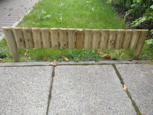 2 x Gardening & Patio Accessories | Roll Fixed Edging Wooden Border Log - Fence