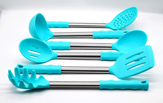 6-Piece Cooking Utensils Cutlery Set with Silicone Grip Handle / Cookware Set Kitchen