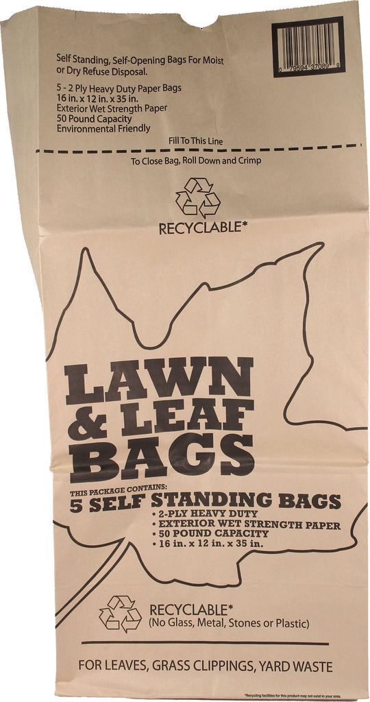 Bunzl Distribution      P - Lawn And Leaf 5 Pack Of Paper Bag - Display