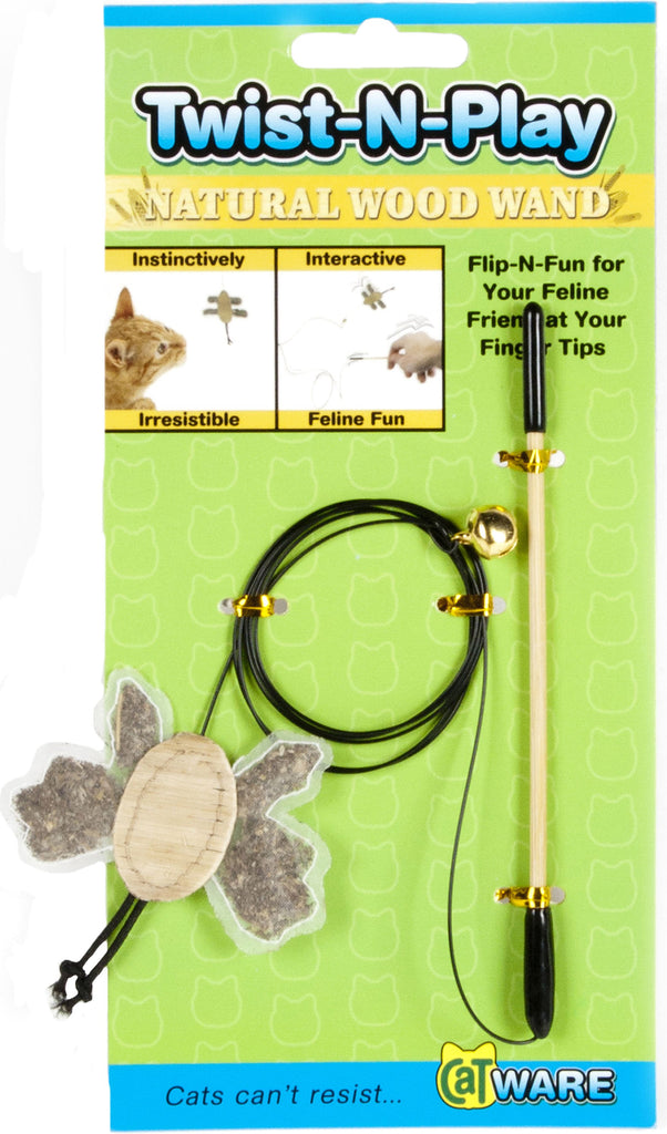 Ware Mfg. Inc.  Dog/cat - Twist-n-play Natural Wood Wand Cat Toy