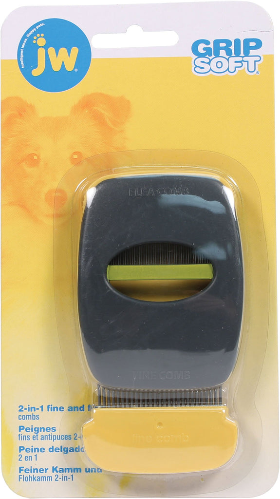 Jw - Dog/cat - Jw Grip Soft 2-in-1 Fine And Flea Combs