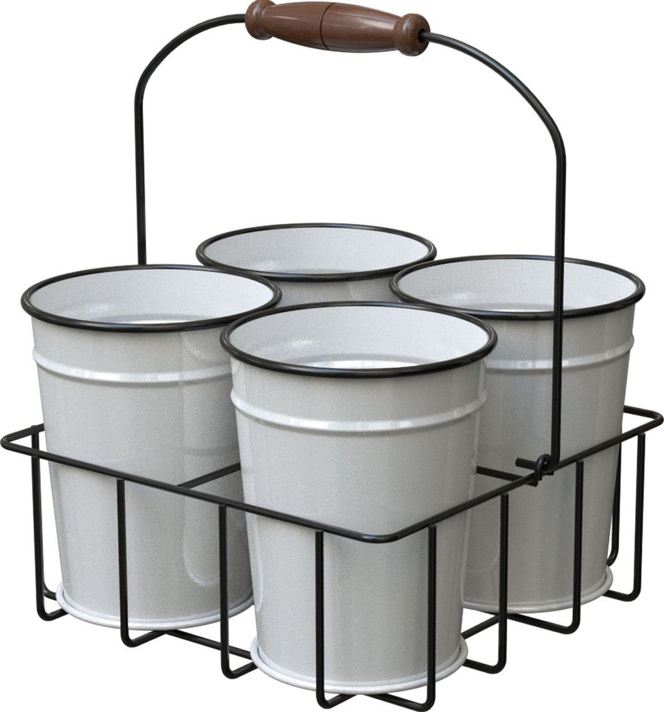 Panacea Products - Milk House Enamel Mini Bucket Planters W/carrier