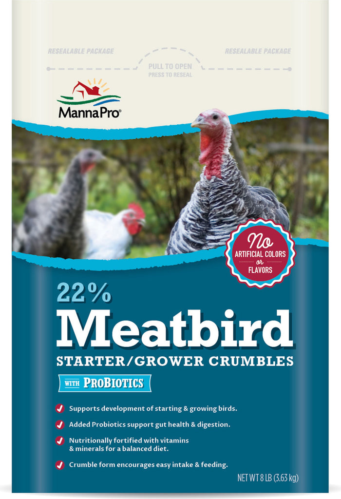 Manna Pro-feed And Treats - 22% Meatbird Starter-grower W/probiotics