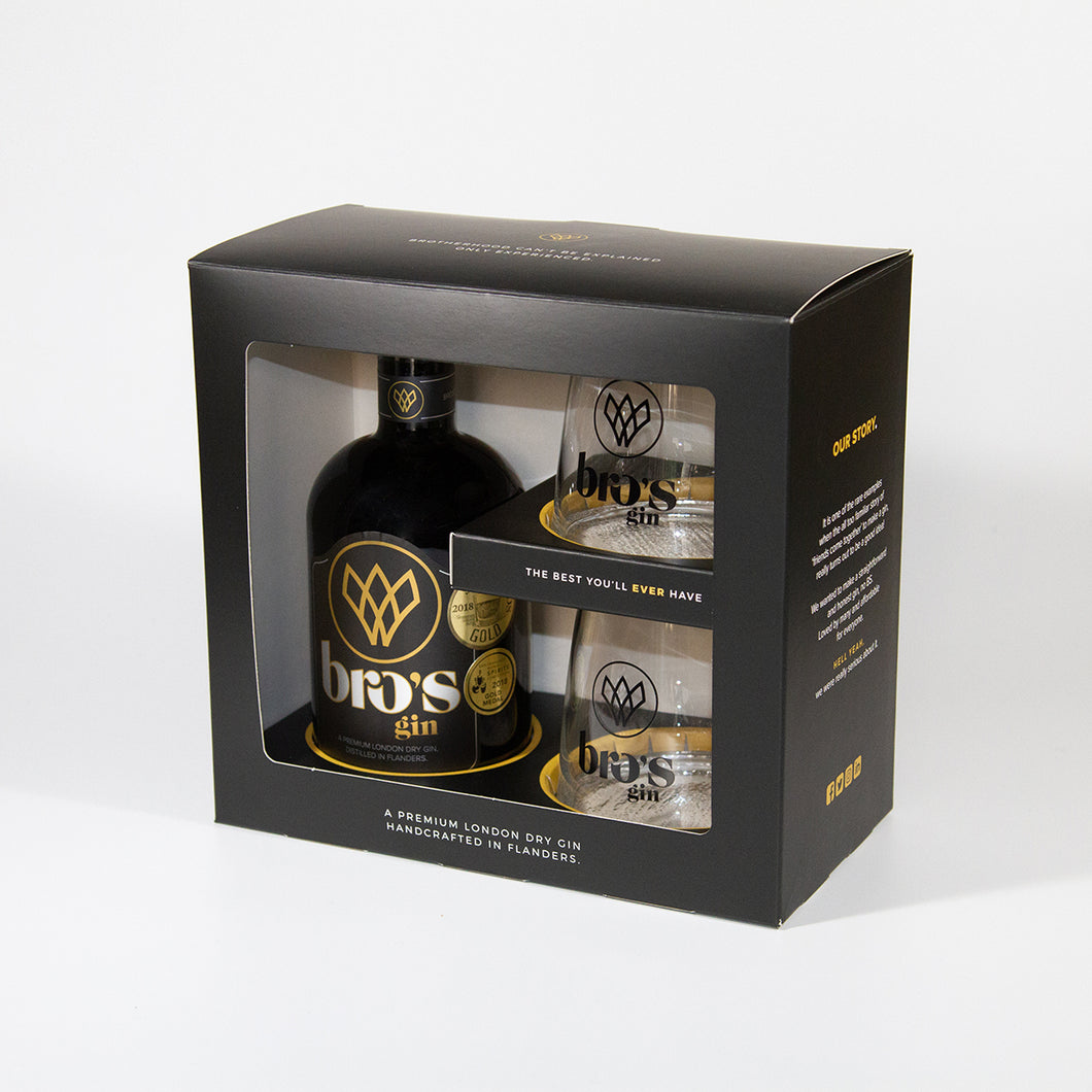 BRO's gin  - Bottle 50cl - Giftpack Deluxe with 2 glasses