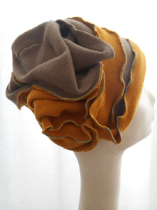 Winter cap in boiled wool, two colors