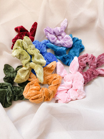 Velvet Scrunchies with Bows