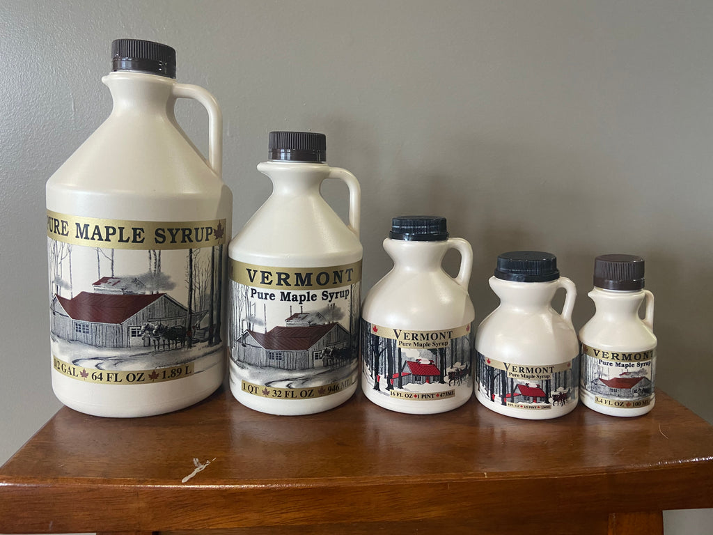 Organic Vermont Maple Syrup Grade A Golden in plastic jugs