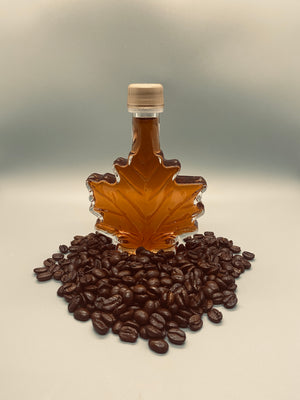 coffee infused vermont maple syrup in a 100ml glass leaf jar