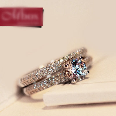 2/pcs Simulated Stone Classic Prong Stackable Ring, Round Brilliant Wedding Bridal Dress Accessaries Engaged Group And Suit Ring