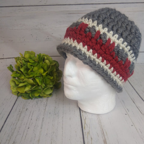 Men's Hat- Grey/Red