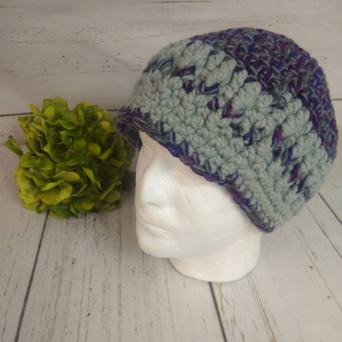 Men's Hat- Grey/Purple