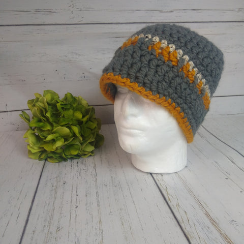 Men's Hat- Grey/Orange